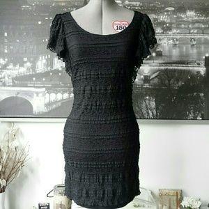H&M Black Lace Winged Cap Sleeve Dress