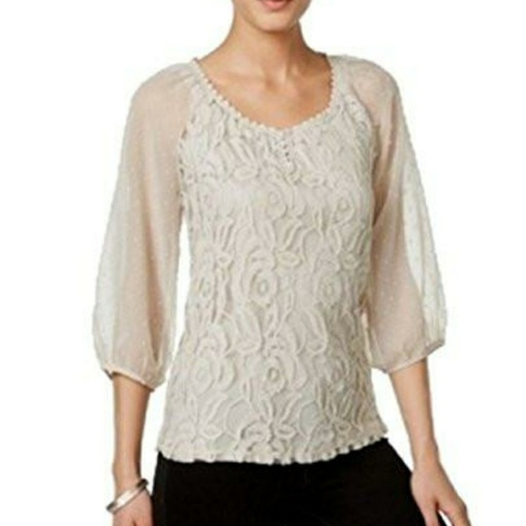 Style & Co Tops - Style & Co. Sheer-Sleeve Embroidered Top,