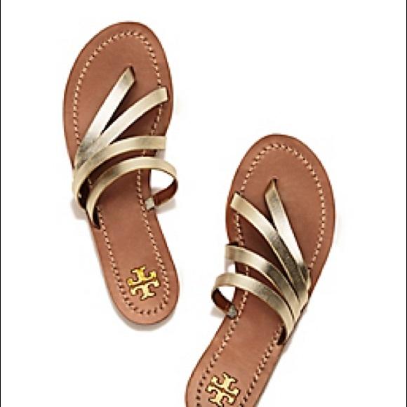 04a7ba651ab5 NIB Tory Burch Patos Thong Spark Gold Sandal 9.5