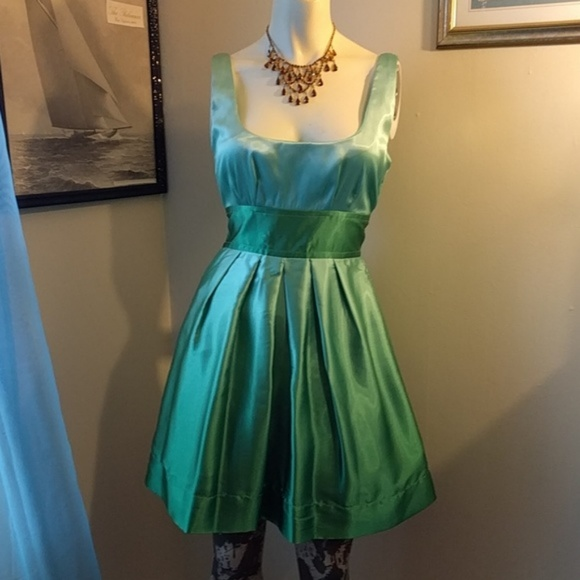 Teeze Me Dresses - Rainbow Brite Dress! Green #Ombre Satin