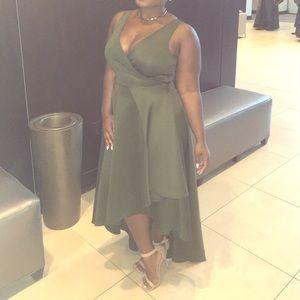 Army green asymmetrical dress