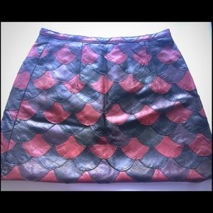 Betsey Johnson Fish Scale Leather Skirt