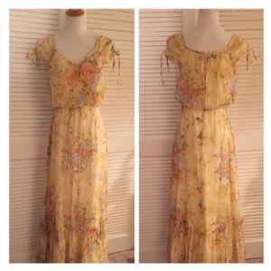 Vintage Boho Maxi Floral Dress, Gunne Sax esque