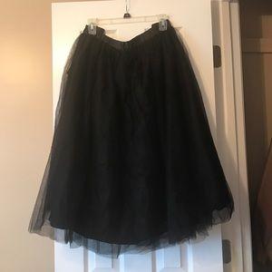 Eloquii midi-length black tulle skirt NWT