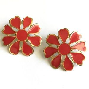 Vintage Red Clip On Earrings TAT Brand 1980s