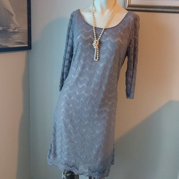 Free People Dresses - #FreePeople Grey #Scallop Lace Shift Dress