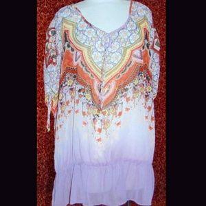JMS EVOLUTION lavender  batwing peplum blouse 3X