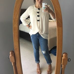 Bow Front Ivory Blouse