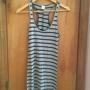 Black & Gray Striped Fitted Racerback Maxi Dress