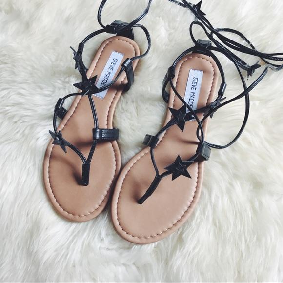Steve Madden Black Star Wrap Sandals