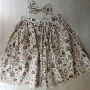 Handmade Party Print Lolita Skirt w/Matching Bow