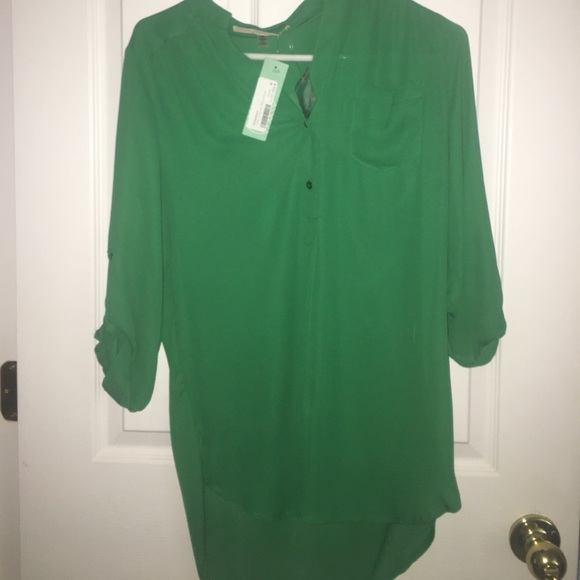 4 Hawthorn Medium Solid Green Tab Sleeve Blouse NWT