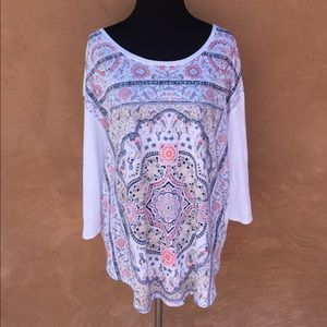 Lucky Brand White Patterned Boho Cozy Shirt