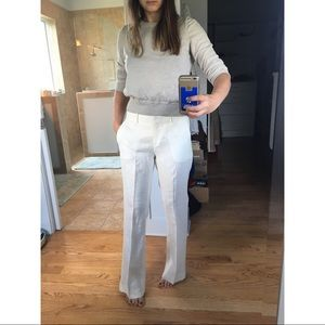 Theory Linen Trousers Pants Sz 4 Wide Leg