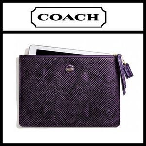 Coach Snake Embossed Leather Medium Tech Pouch NWT