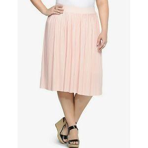 Torrid Pink Pleated Midi Skirt