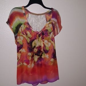 Tops - Colorful Sheer Top with Lace Deep V-neck EUC