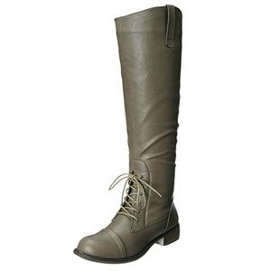 Gray Half Laced Knee High Boot