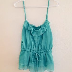 Forever 21 Ruffle Teal Tank Top Size M
