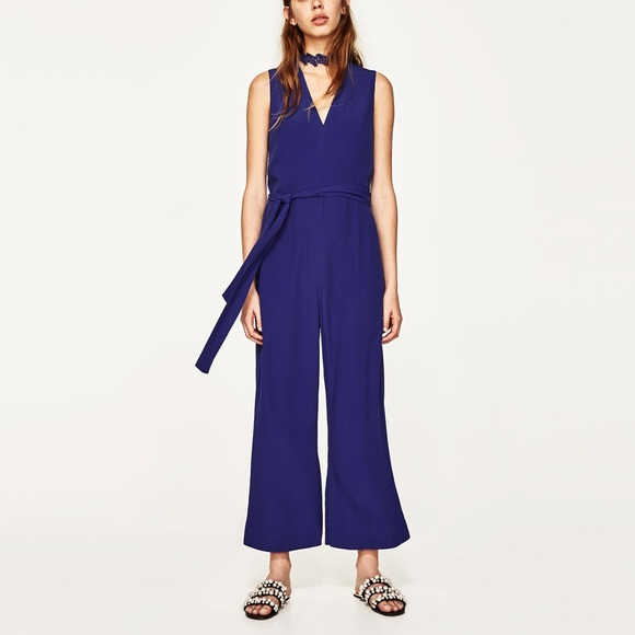 35776e491eb Zara blue jumpsuit with lace choker detail