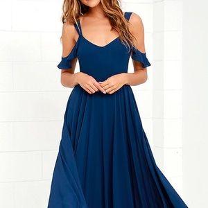Navy Flutter Sleeve Maxi Gown