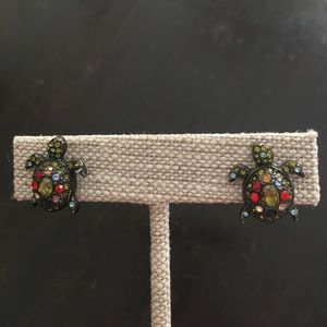 Anthropologie rhinestone turtle earrings