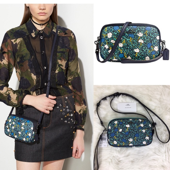 Coach FOLDOVER CROSSBODY CLUTCH WITH FLORAL TOOLING F26007 Color-chalk