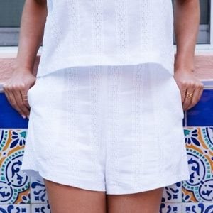 Lush Shorts - Lush embroidered cotton white shorts