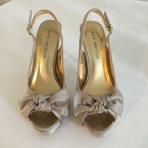 Shoes - Nude Satin Bow Slingback Peeptoe Pumps