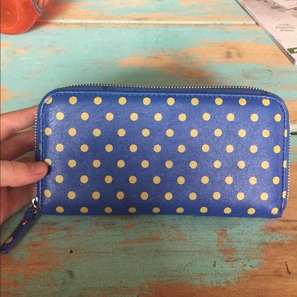 Urban Outfitters Handbags - Blue and yellow polka dot wallet
