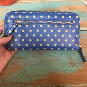 Urban Outfitters Bags - Blue and yellow polka dot wallet