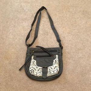 Gray and Lace Crossbody