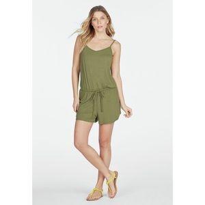 Olive Green Knit Just Fab Romper