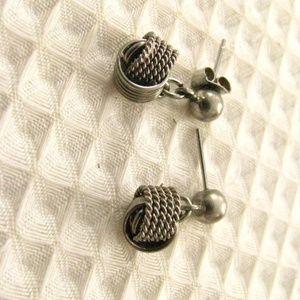 Silver dangling love knot earrings - VTG Pierced