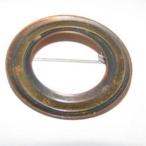 Copper circle brooch arts & crafts vtg 1930s
