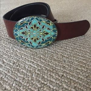 Accessories - Turquoise colored buckle leather belt 42""