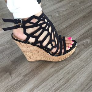Cork wedges in black! Brand new, never worn!