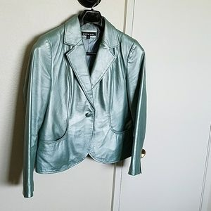 Vintage frosty green lamb leather jacket