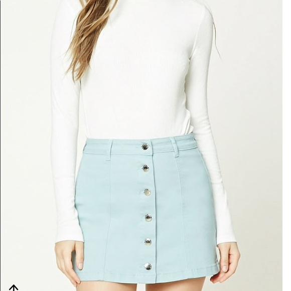 415ca65225 Forever 21 Skirts | Light Blue Denim Button Up Skirt | Poshmark