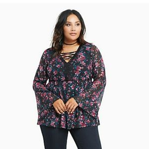 Torrid size 0 chiffon top with bell sleeves.