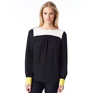 Kate Spade silk Black & Yellow LS Top sz 6