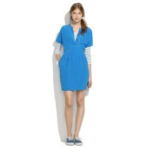 turquoise madewell silk shirt dress - used once -