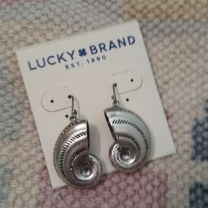 Lucky Brand Silver Shell Drop Earrings, New
