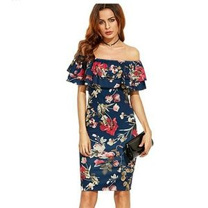 FLORAL OFF THE SHOULDERS BODYCON