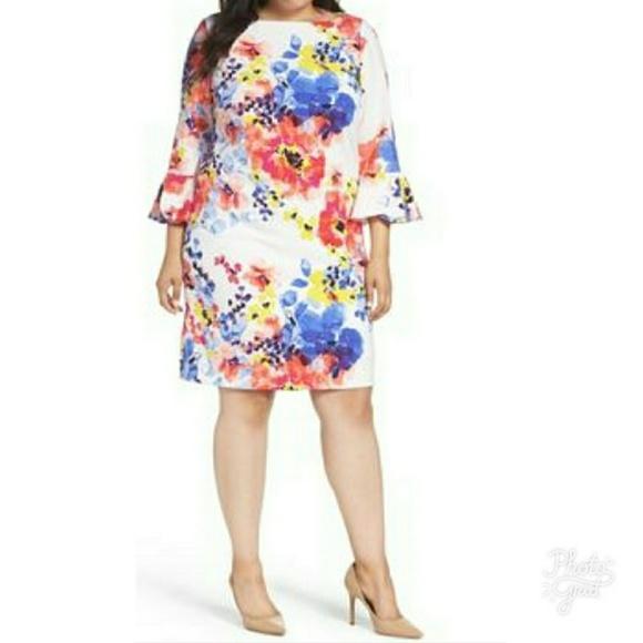 e05cc6d3ee53 Tahari Dresses | Floral Bell Sleeve Shift Dress | Poshmark