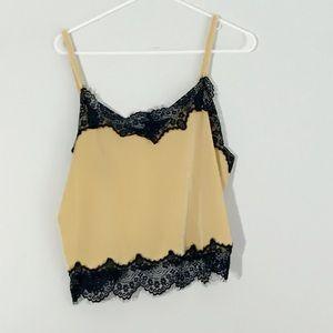 Tops - Velvet x lace camisole