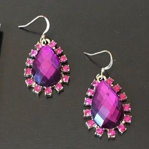 Jewelry - NEW Deep pink dangling gemstone earrings