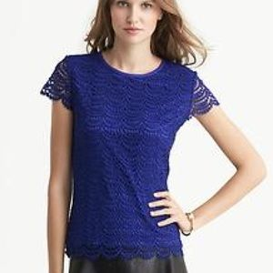 Banana Republic Royal Blue Scalloped Lace Top
