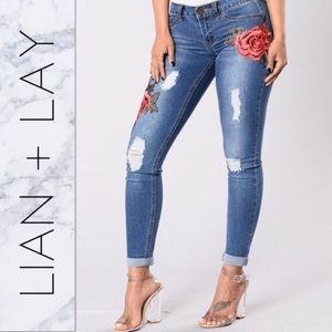 Denim - Distressed Skinny Rose Jeans