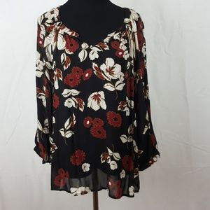 Lucky brand floral print blouse size large